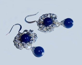 Byzantine romanov chainmaille dangle chandelier bauble earrings with Swarovski crystal lapis pearl beads