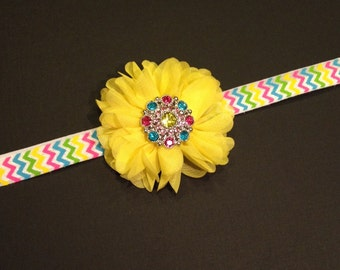 Baby Girl Chevron Headband - Rhinestone Hair Clip - Yellow Chiffon Flower - Birthday Girl, Spring Headband - Colorful Easter Headband