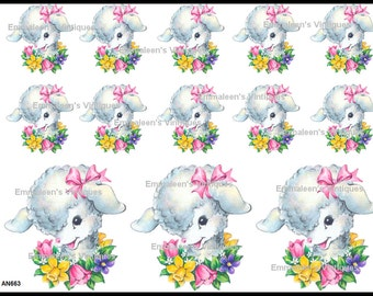 Vintage Shabby Lamb Lamb's Head and Spring Flowers Waterslide Decals AN663
