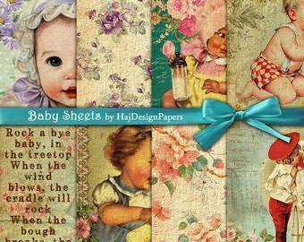 "Baby digital paper : ""Baby Sheets"" -  Digital Paper, Altered Art, Decoupage Paper, Scrapbook Paper, Vintage baby paper, Collage Sheet"