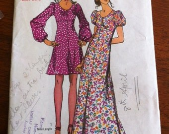 70s glam- Simplicity 9446- empire waistline dress- puff sleeves- b32.5 cut pattern
