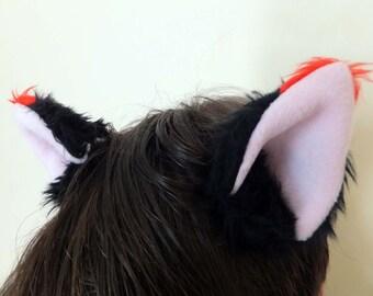 Black Red Tip Furry Cosplay Cat Neko Devil Kitty Ears Hair Clips Kawaii Halloween Costume Festival Fursuit Christmas