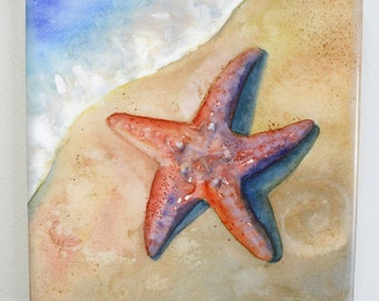 Starfish Tile Trivet Watercolor