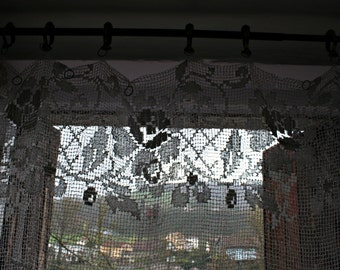 Lace Curtain Filet Crochet Panel Rose Pattern French Vintage