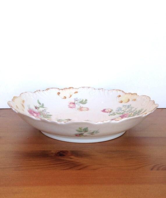 Antique Laviolette Limoges porcelain bowl scalloped edge made in France