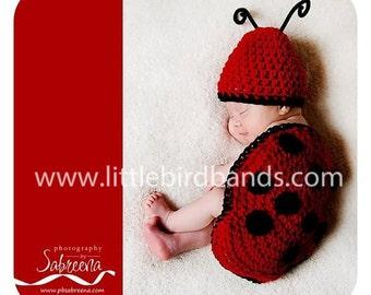 Handmade, Crochet Newborn Lady Bug Outfit, Photo Prop for Newborn Photography, Newborn Girl Hat, Newborn boy Hat, Newborn Outfit