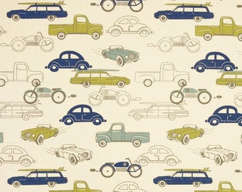 Retro Car Fabric by the YARD rides vintage antique classic Premier Prints felix blue green natural Home Decor upholstery curtain SHIPsFAST