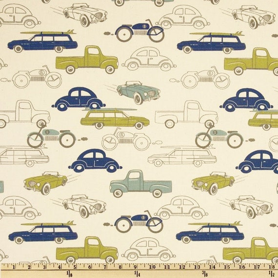 retro car fabric by the yard rides vintage antique classic premier prints felix blue green. Black Bedroom Furniture Sets. Home Design Ideas