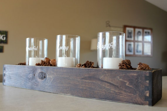Wood Board Centerpiece : Wood table centerpiece or window box long