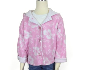 Handmade pink and white girls winter jacket, hoodie, coat,