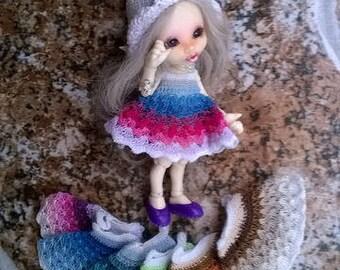 Preorder: Crochet RAINBOW dress for tiny doll (pukipuki, realpuki FL.....)