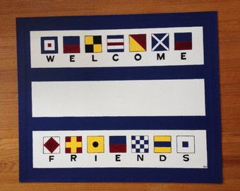 Painted Canvas Floorcloth with Nautical Welcome