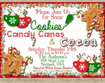 christmas party invitation, handmade digital invite, christmas cookie invite, christmas invite - Digital File - DIY PRINTABLE