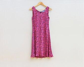 Vintage 80s pink summer dress, sundress, shift dress, womens casual, 80s clothing