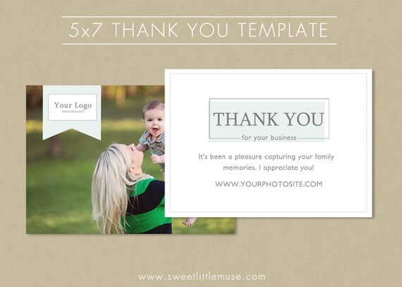 thank you card template 5x7 photography thank by sweetlittlemuse. Black Bedroom Furniture Sets. Home Design Ideas