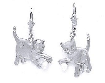 Sterling Silver Cat Earrings, Playful Cat, Cat Playing, Silver Earrings, Playful Cat Earrings, Cat Earrings, Cat, Animals