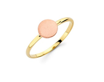 14K Two Tone Rose and Yellow Gold Circle Ring, Two Tone Circle Ring, Rose Gold, Yellow Gold, Circle Ring, Two Tone, Solid Gold, Gold Ring