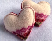 Felt Heart Hand Warmers - Red and Multi-Colored   Pocket Hand Warmers Made from Upcycled, Felted Sweaters