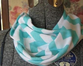 Small Aqua Chevron Jersey Knit Infinity Scarf - Baby Toddler Kid's Children's PHOTO PROP Scarf - ChevronScarf