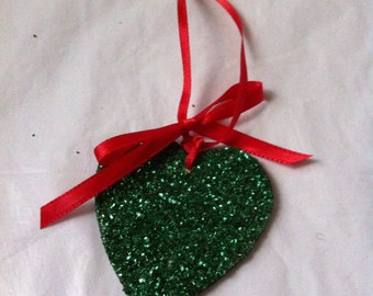 Green Heart Shaped Wooden Ornament