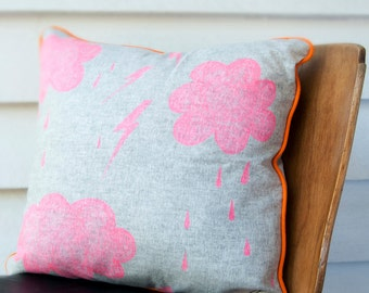 Stormy Weather cushion: 60 X 60 cm Hand drawn on linen blend decorative pillow