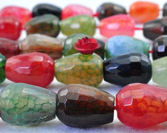 27 pcs of Fire Agate faceted teardrop beads in 10 x 14mm