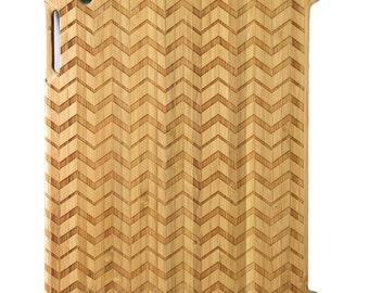 Natural Bamboo iPad 2,3,4 case, Even Chevrons design design, UK