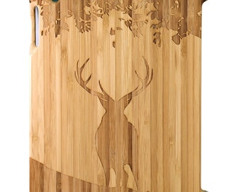 Natural Bamboo iPad 2,3,4 case, Stag Under Tree design, UK