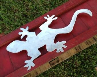 Metal Gecko, Aluminum, for Indoor Decor, Garden Art Outdoors or Shelf Art, WON'T RUST