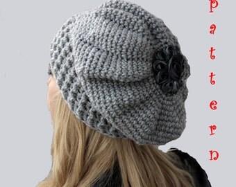 Crochet Slouchy Hat Pattern,Crochet  French Beret Pattern,Crochet Slouchy Beanie Pattern,Crochet French Slouchy Beret Pattern,Beanie Pattern