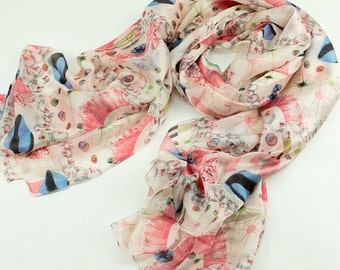 Light Pink Silk Scarf - Silk Chiffon Scarf - Lipstick and Lip Print Scarf - Abstract Lip Print Scarf - Lipstick Scarf - AS2014-11