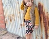 Girls Pencil Skirt, Black Navajo Print
