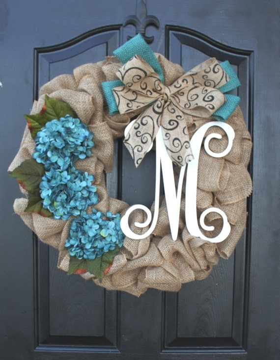 Burlap wreath hydrangea etsy wreath wreaths by oursentiments for How to make door wreaths for spring