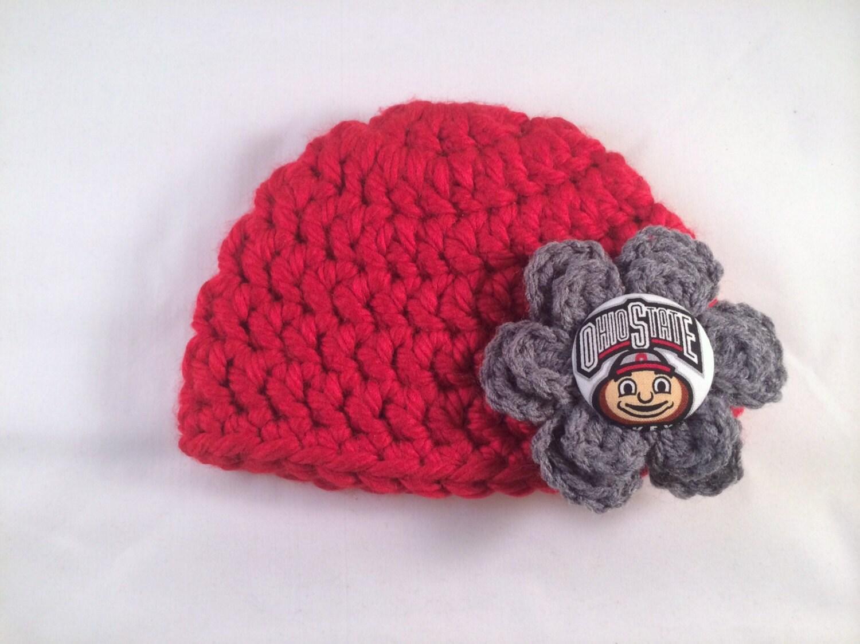 Ohio State hat OSU flower hat Buckeyes hat by CHandmadeCreations
