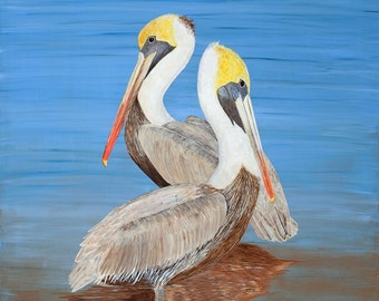 """18"""" x 24"""" Limited Edition Peaceful Pelicans, Wall Art, Giclee Print, Ocean Birds, Valentine Love, Valentine Gift"""