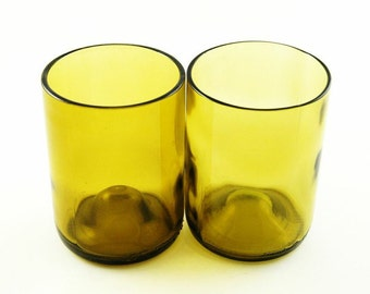 Two Recycled Amber Wine Bottle Tumblers
