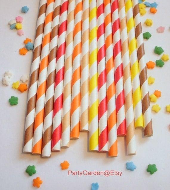 50 Thanksgiving Fall Autumn Paper Straws