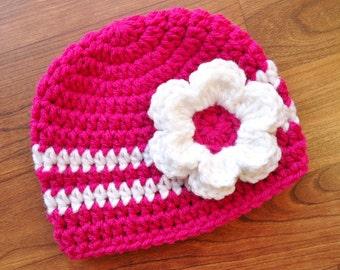 Crocheted Fuchsia Pink Baby Girl Hat with Flower, Baby Shower Gift, Newborn Photo Prop - Fuchsia & White - Newborn to 5T - MADE TO ORDER