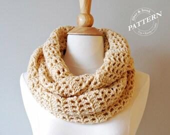 CROCHET PATTERN - Breezy Infinity Scarf, Crochet Scarf Pattern, Easy Crochet, Summer Spring Fall, Infinity Loop Cowl, pdf #026S