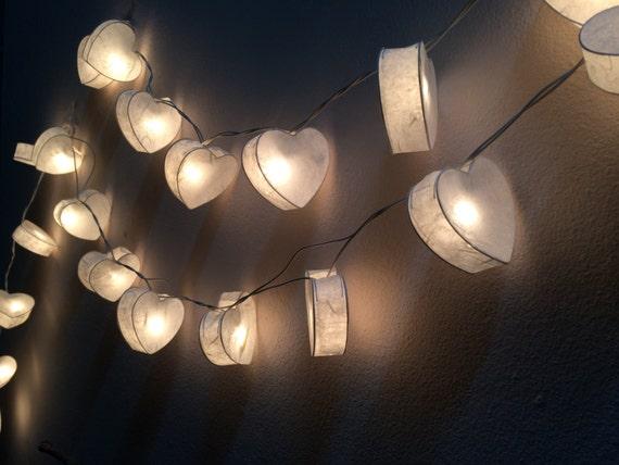 White Heart Paper String Light Fairy Light Bedroom or by Nisa33