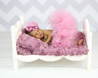 Newborn baby bed photography photo prop hand made log wooden bed