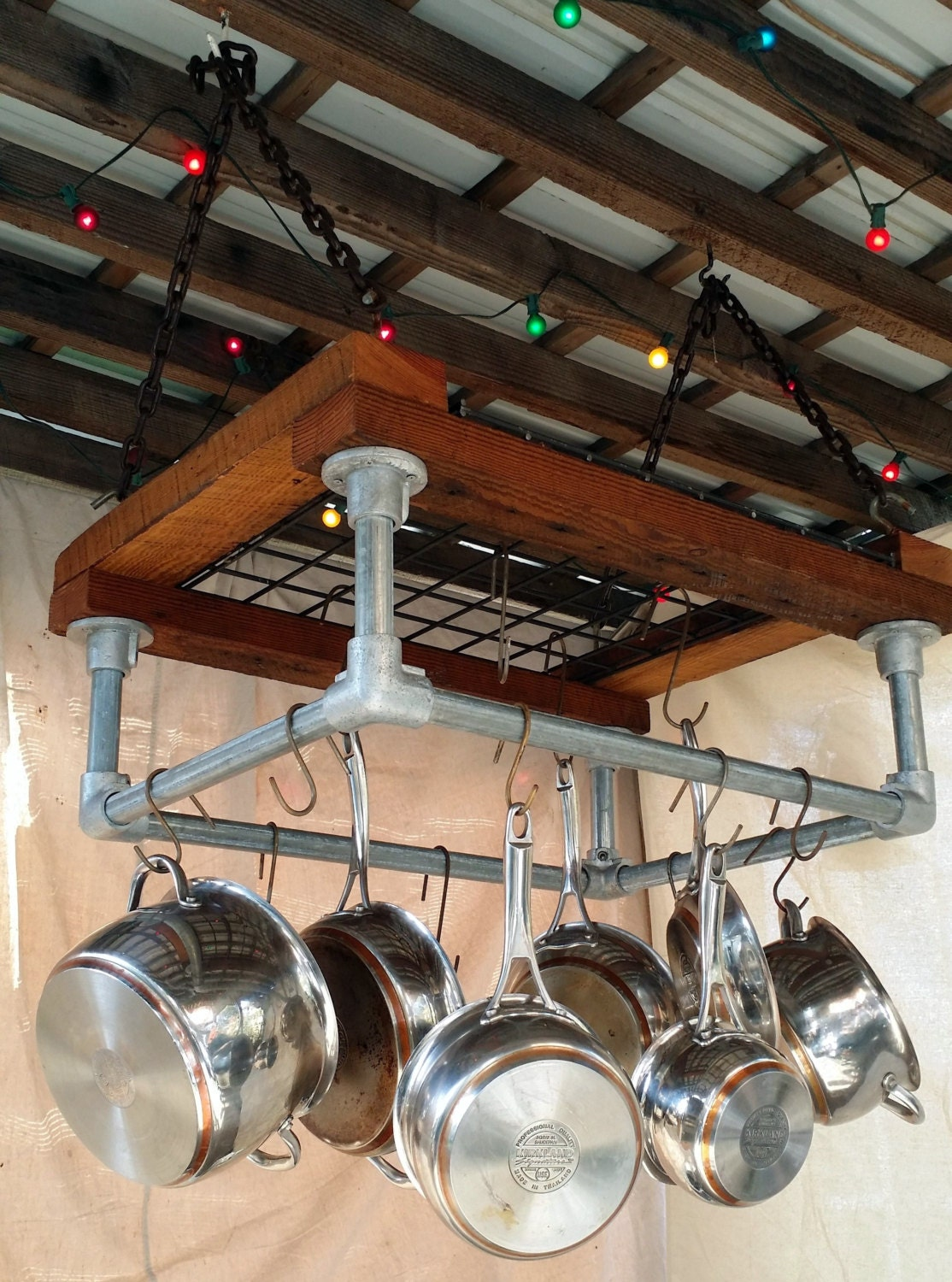 Kitchen pot rack reclaimed wood industrial galvanized pipe for Pot racks for kitchen