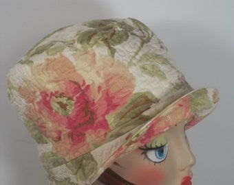 Cotton, cloche hat, 1920s, Art Deco, off white, flapper, designer, chemo, floral, vintage style, size Sm, Med, L. Free shipping in USA.
