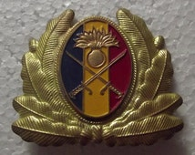 vintage Romanian military army cavalry cold war brass enamel cokade pin, collectible pin, collectable pin, socialist communist pin