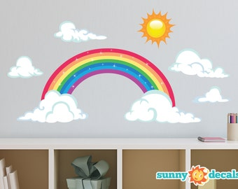 Rainbow Fabric Wall Decal, Sparkling Rainbow Wall Decor with Sun and Clouds, Repositionable, Reusable, Two Size Options - Sunny Decals