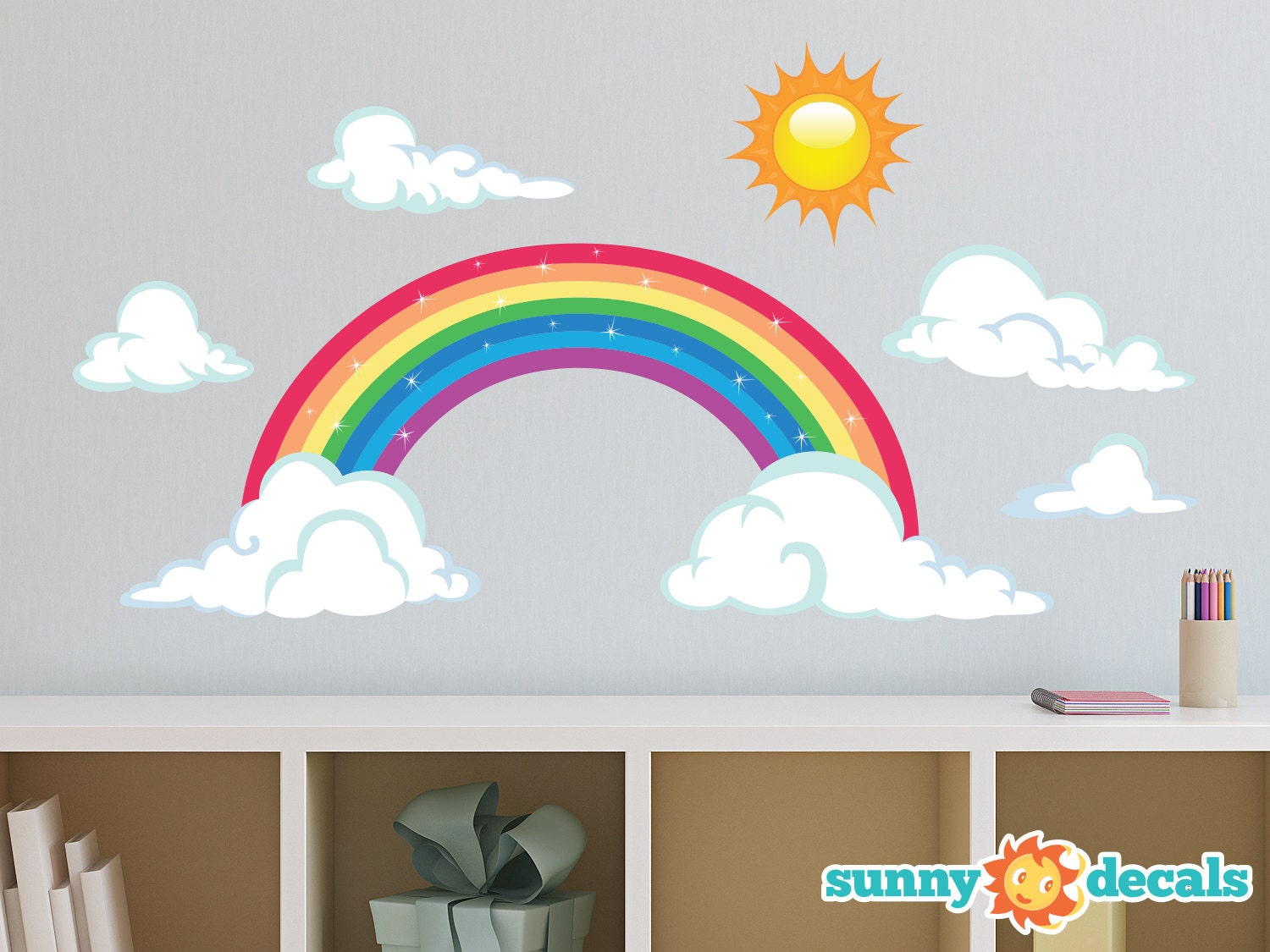 Wall Art Stickers Rainbow : Rainbow fabric wall decal sparkling decor with