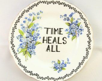 Time Heals All Vintage Side Plate Ornamental Dish Wall Decoration Forget me Nots Blue Flowers Condolences Gift Inspirational Present for Her