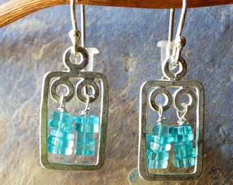 Apatite and sterling earrings, aqua blue earrings