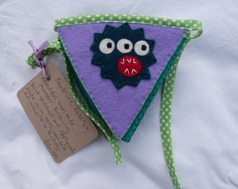 Gorgeous Hand sewn Felt Appliqued Monster Bunting x