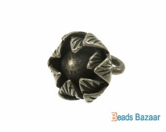 Karen Hill Tribe silver Budding Daisy Flower Charm, 10 mm